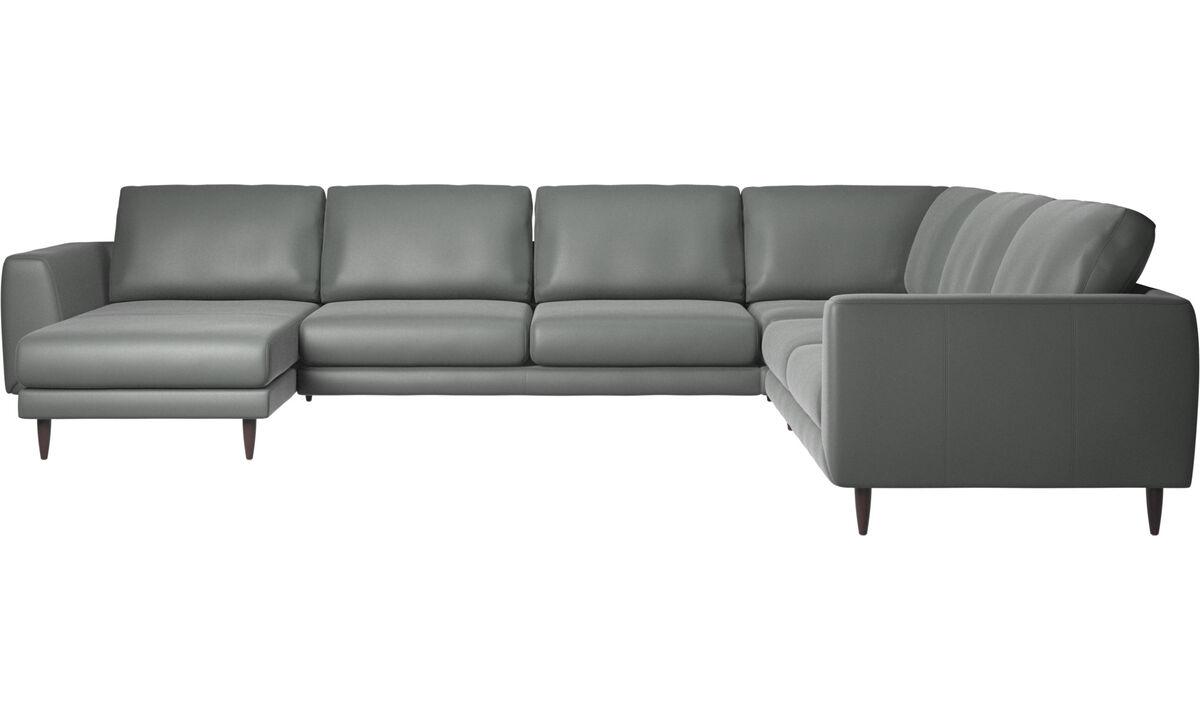 Corner sofas - Fargo corner sofa with resting unit - Gray - Leather
