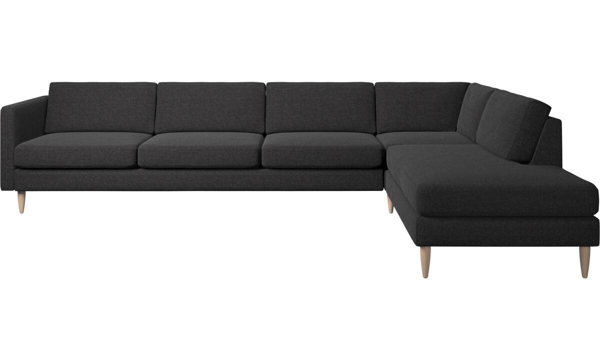 Sofy narożne - sofa narożna Osaka z modułem wypoczynkowym, standardowe siedzisko - Czarny - Tkanina