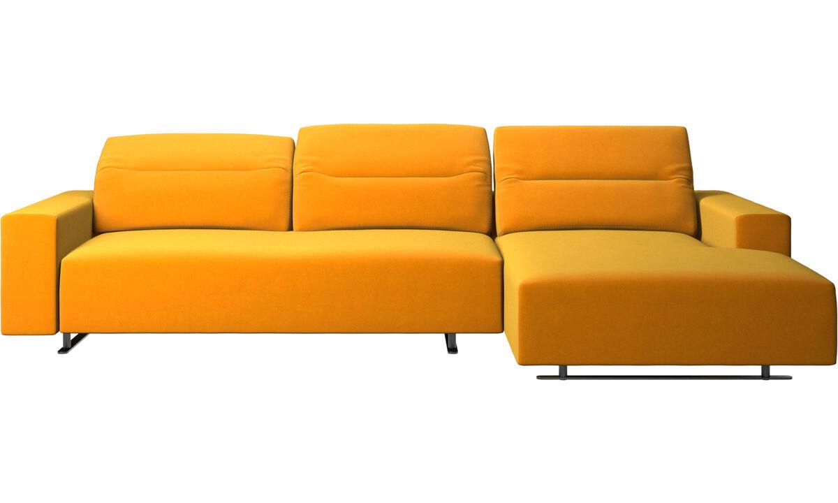 Sofás con chaise longue - Sofá Hampton con respaldo ajustable, módulo de descanso y almacenamiento en lado derecho - Naranja - Tela