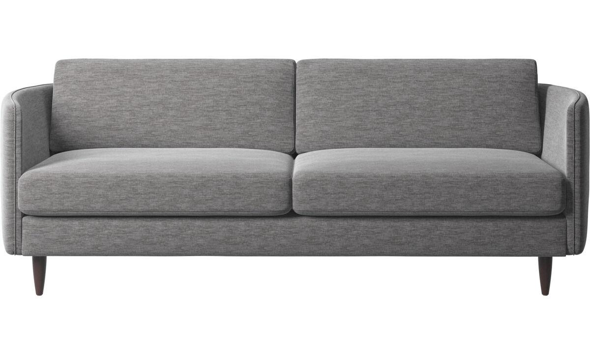 Sofás de 2 plazas y media - sofá Osaka, asiento regular - En gris - Tela