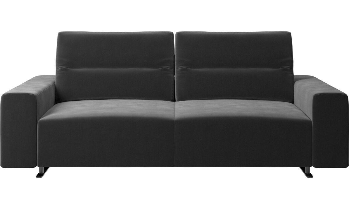 2,5 θέσιοι καναπέδες - Καναπές Hampton με ρυθμιζόμενη πλάτη - Μαύρο - Ύφασμα