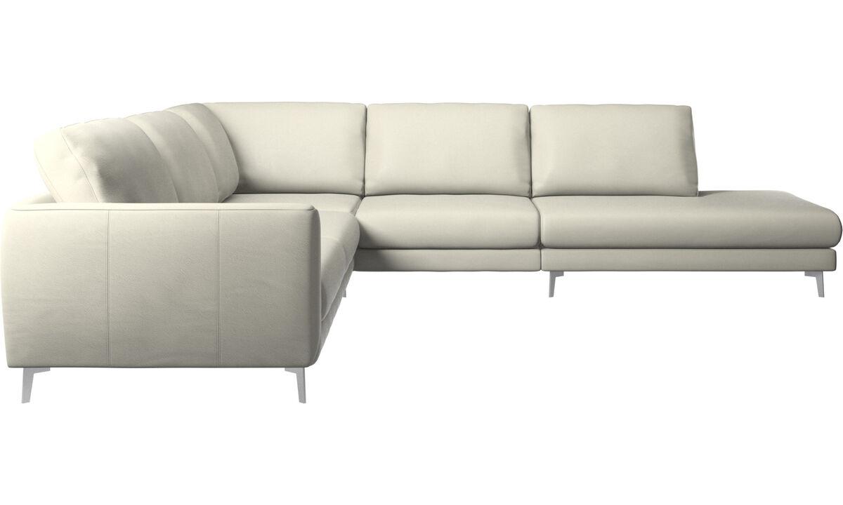 New designs - Fargo corner sofa with lounging unit - Beige - Leather