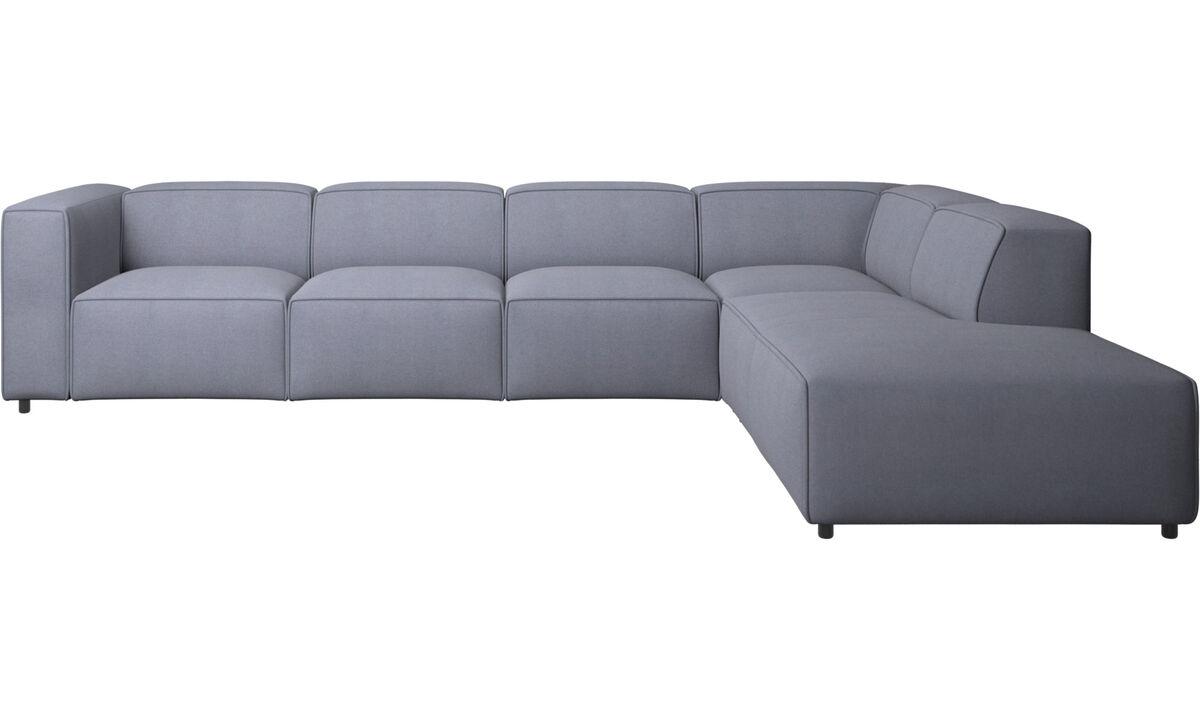 Sofás modulares - Sofá esquinero Carmo con módulo de descanso - En azul - Tela