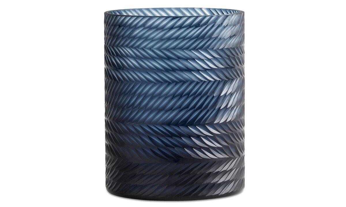 Jarrones - jarrón Leaf 2 - En azul - Cristal