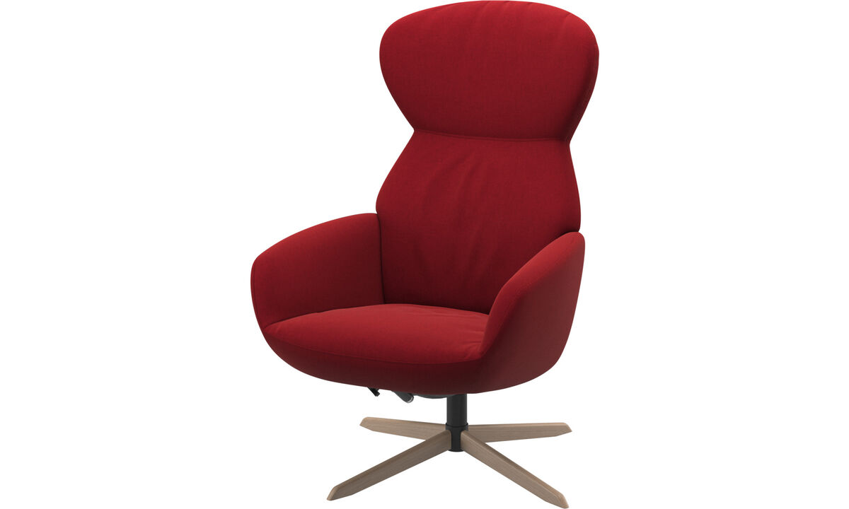 Recliners - Athena chair with reclining back function and swivel base - Red - Fabric