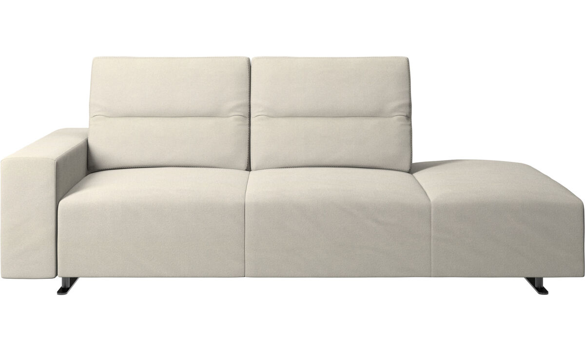 Sofas with open end - Hampton sofa with adjustable back and lounging unit right side, storage and armrest left side - White - Fabric