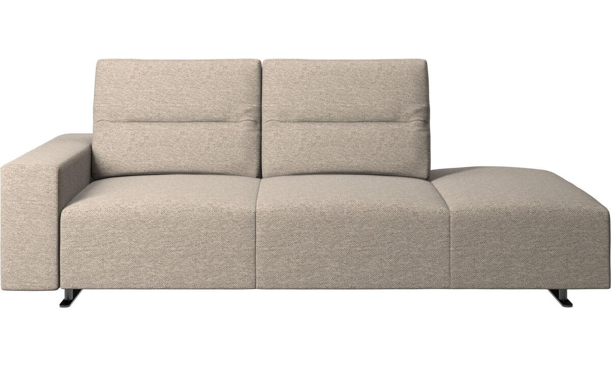 Canapés avec méridienne - canapé Hampton avec dossier ajustable et chaise longue, rangement et accoudoir côté gauche - Beige - Tissu