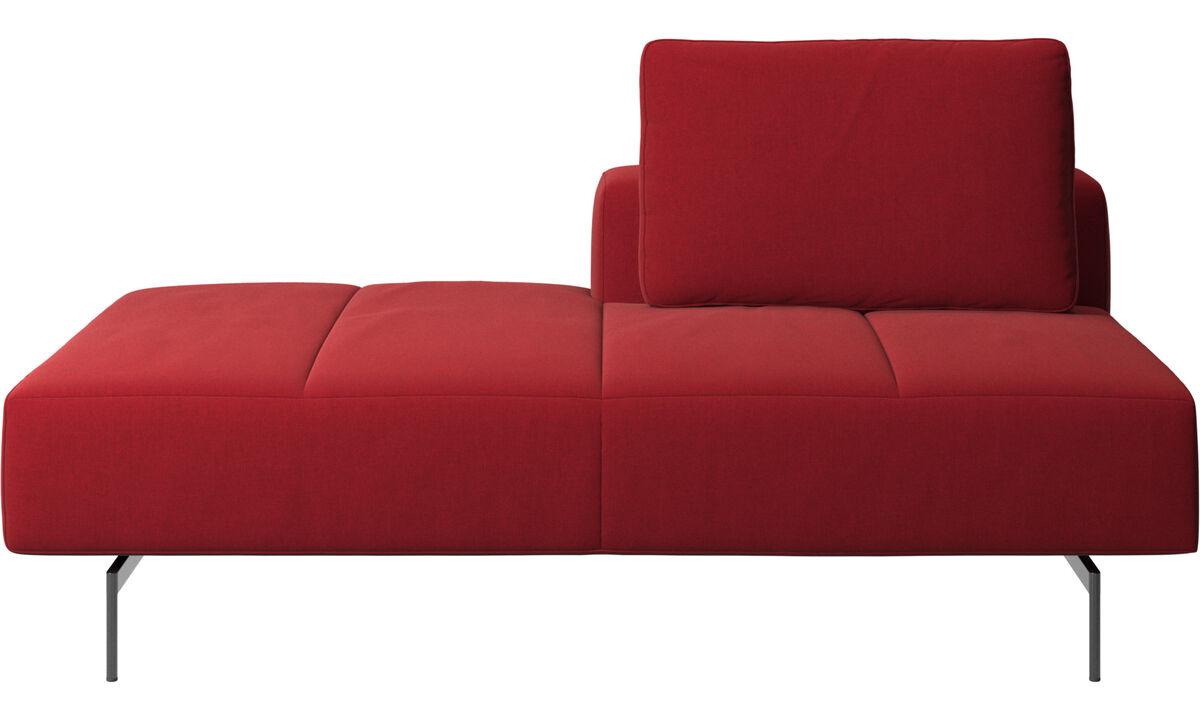 Sofás modulares - Módulo descanso para sofá Amsterdam, encosto traseiro direito, extremidade aberta esquerda - Vermelho - Tecido