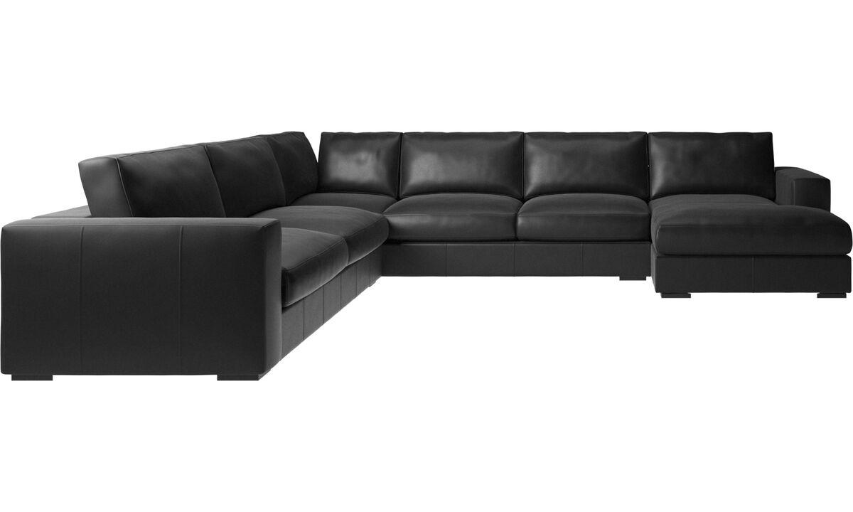 Угловые диваны - угловой диван Cenova с модулем для отдыха - Черного цвета - Кожа