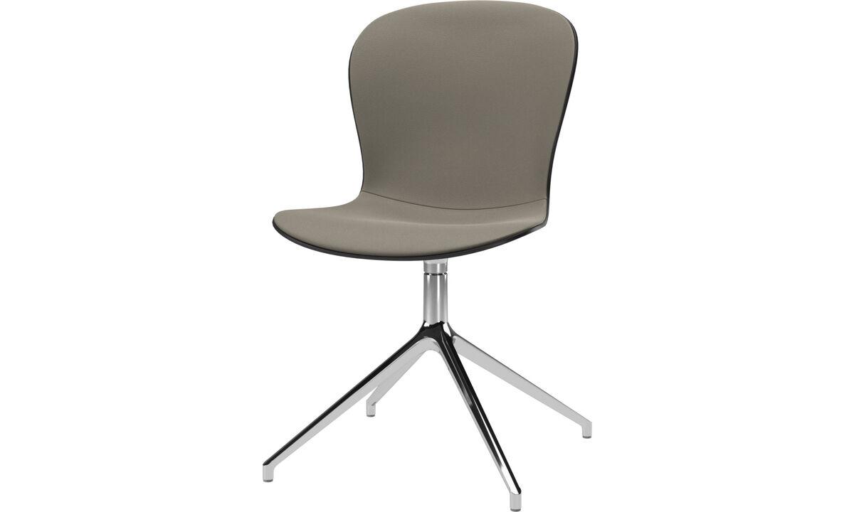 Sillas de comedor - silla Adelaide con función giratoria - En gris - Piel