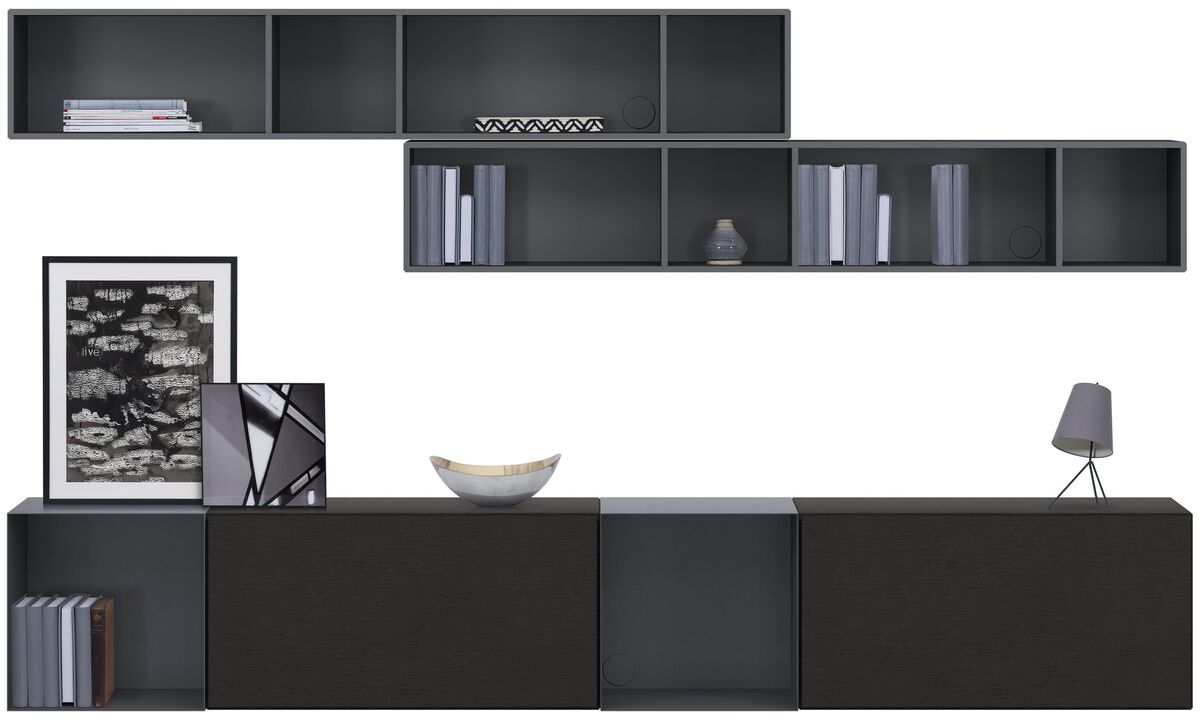 Wall systems - Lugano wall mounted wall system with drawers - Black - Oak