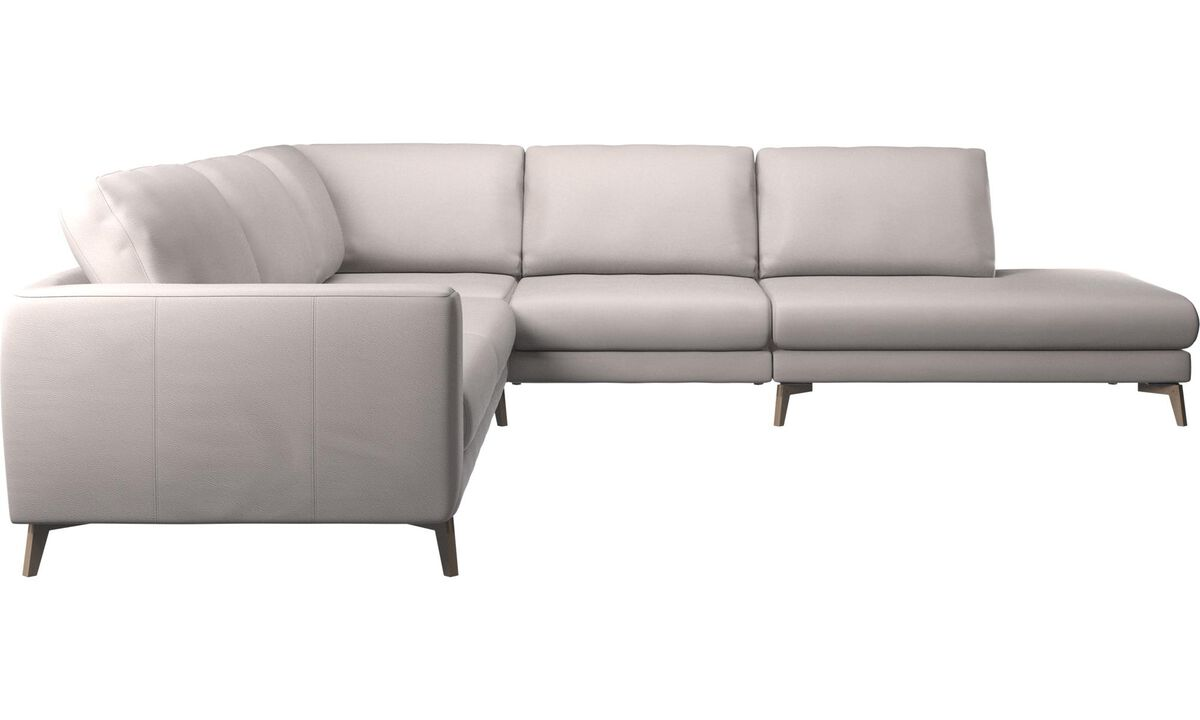 Corner sofas - Fargo corner sofa with lounging unit - Beige - Leather