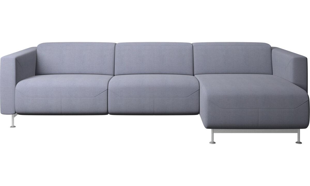 Canapés avec chaise longue - Canapé inclinable Parma avec chaise longue - Bleu - Tissu