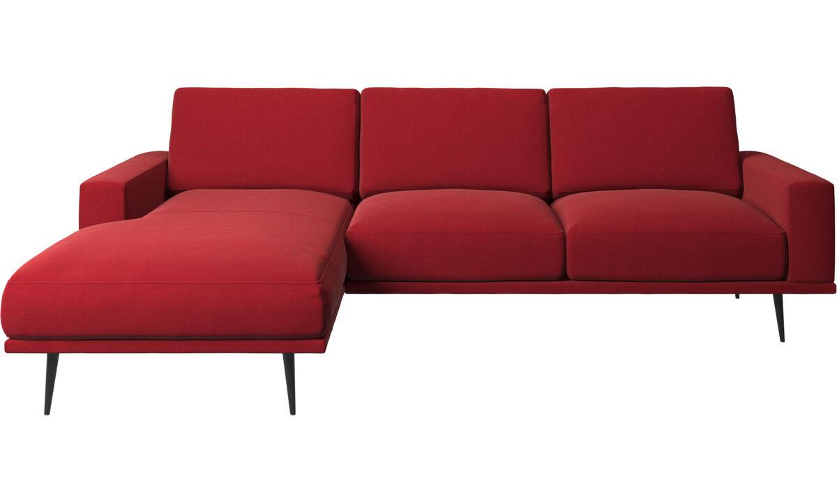 Sofás com chaise - Sofá Carlton chaise-longue - Vermelho - Tecido