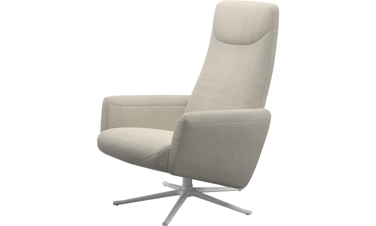 Armchairs - Lucca recliner with swivel function - White - Fabric