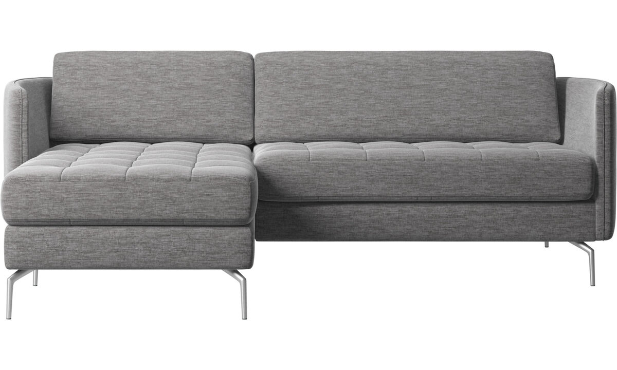 Chaise longue sofas - Osaka sofa with resting unit, tufted seat - Grey - Fabric