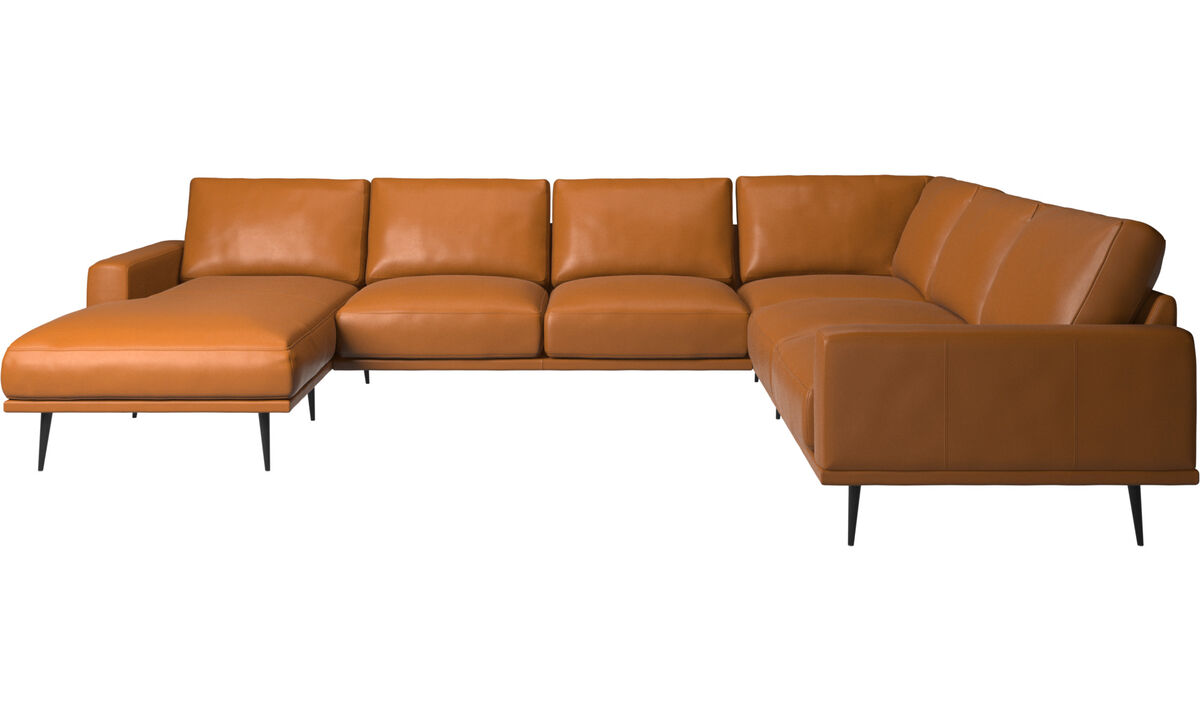 Chaise lounge sofas - Carlton corner sofa with resting unit - Brown - Leather