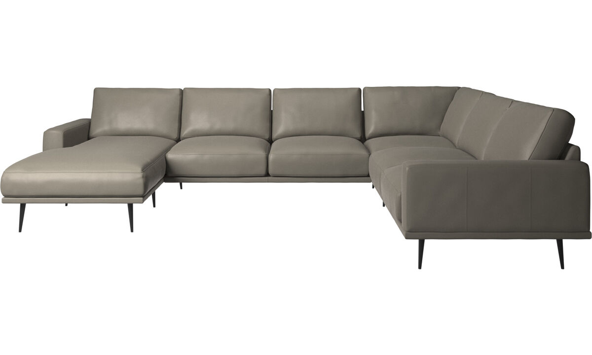 Corner sofas - Carlton corner sofa with resting unit - Grey - Leather