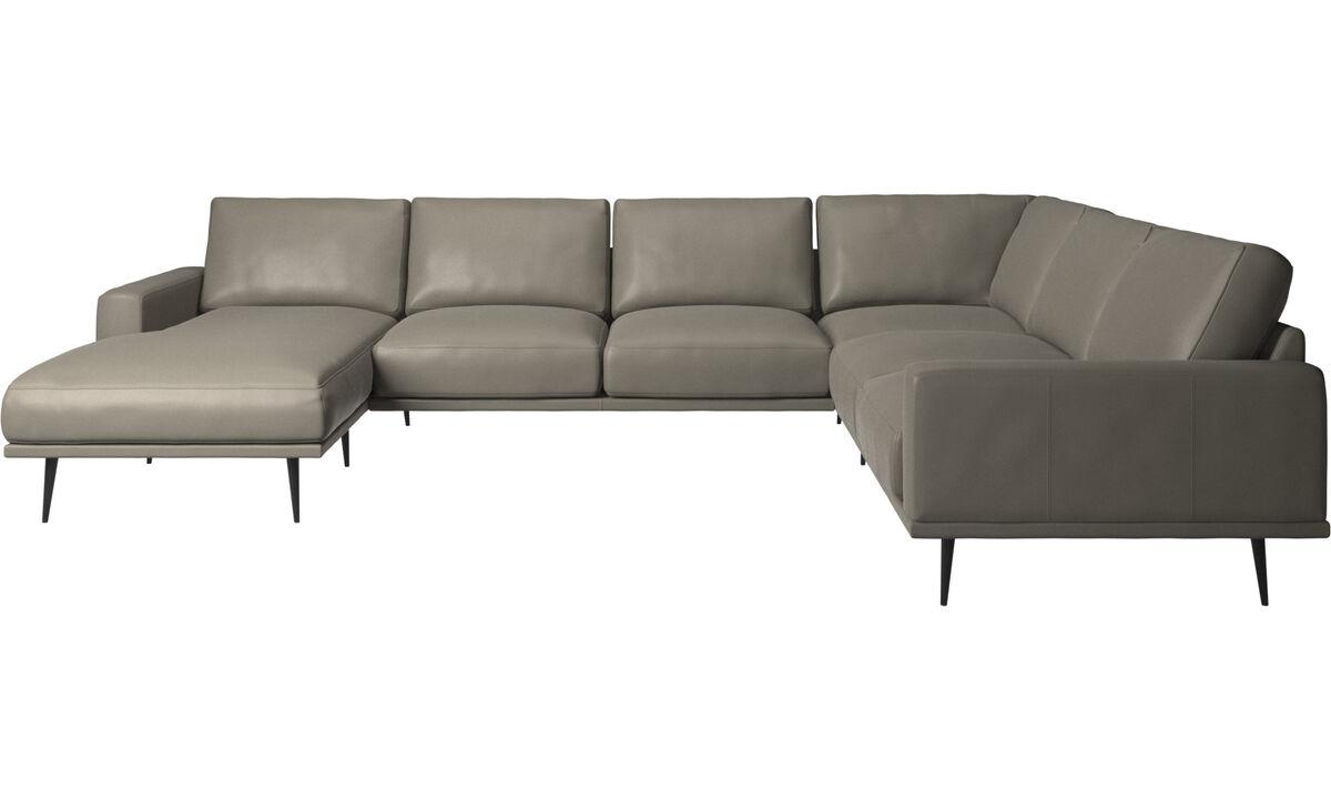 Sofás com chaise - sofá de canto Carlton com módulo chaise-longue - Cinzento - Pele