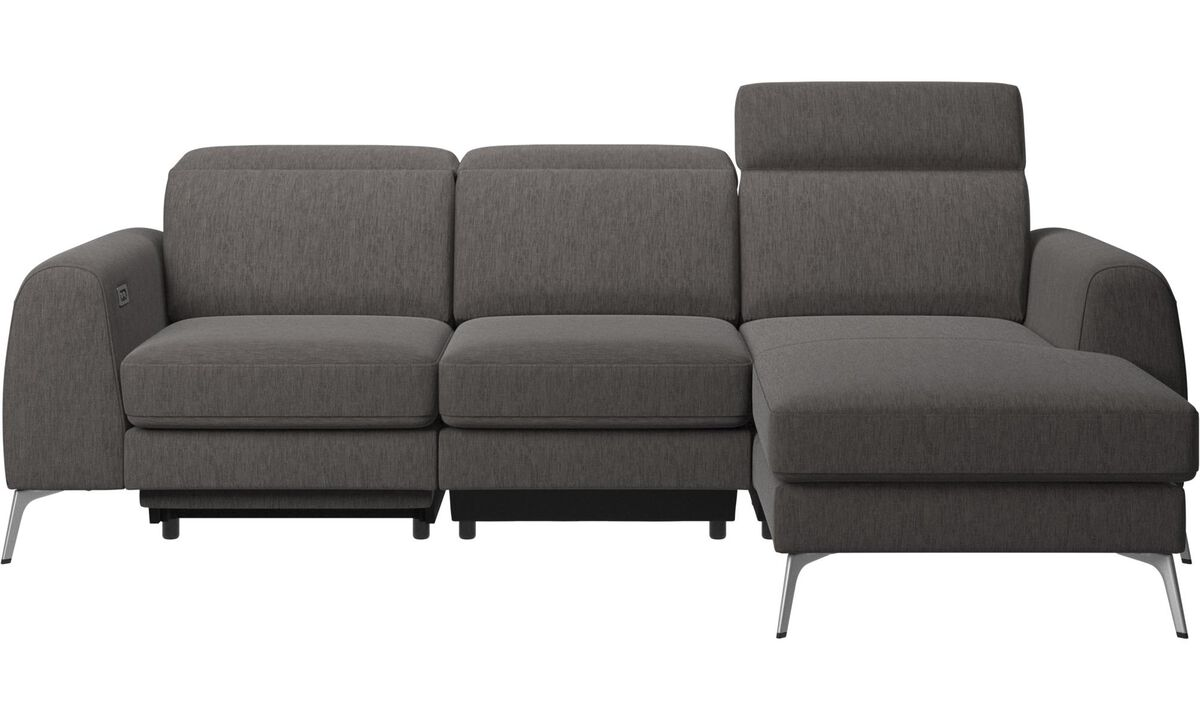 3 seater sofas - Madison sofa with resting unit, and electric seat, head, and footrest motion (transformer and cable plug-in included) - Grey - Fabric