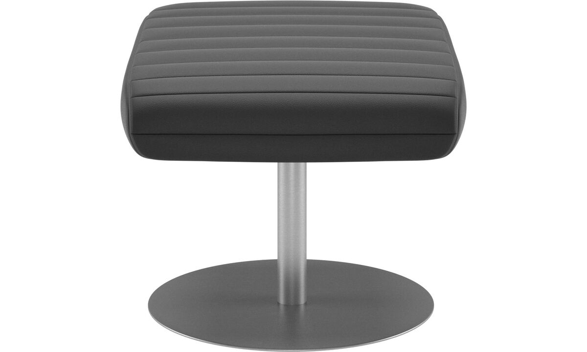 Ottomans - Wing footstool - Black - Leather