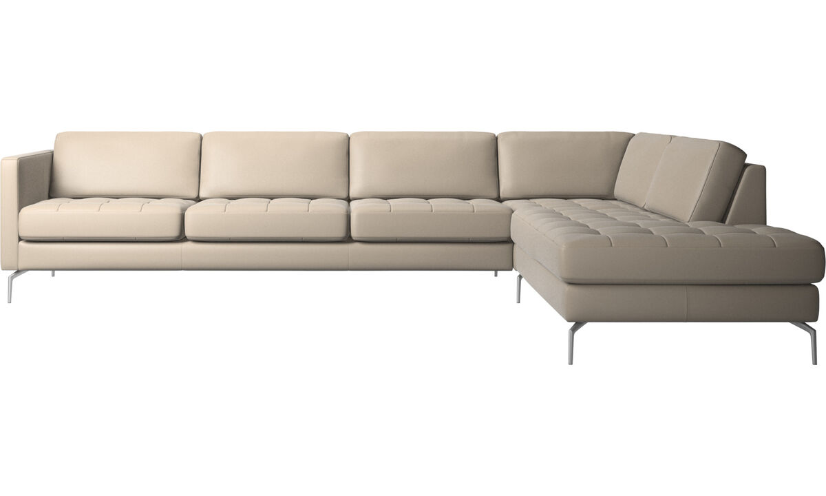 Sofas with open end - Osaka corner sofa with lounging unit, tufted seat - Beige - Leather