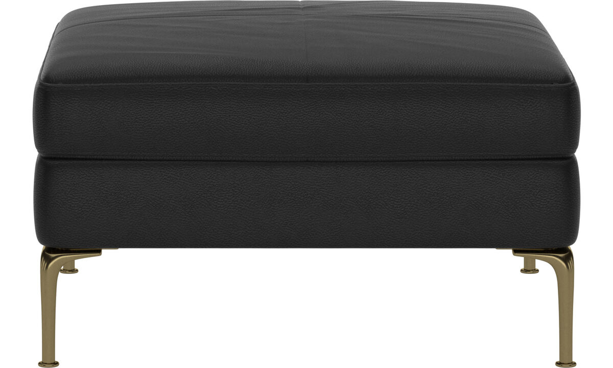 Footstools - Marseille footstool - Black - Leather