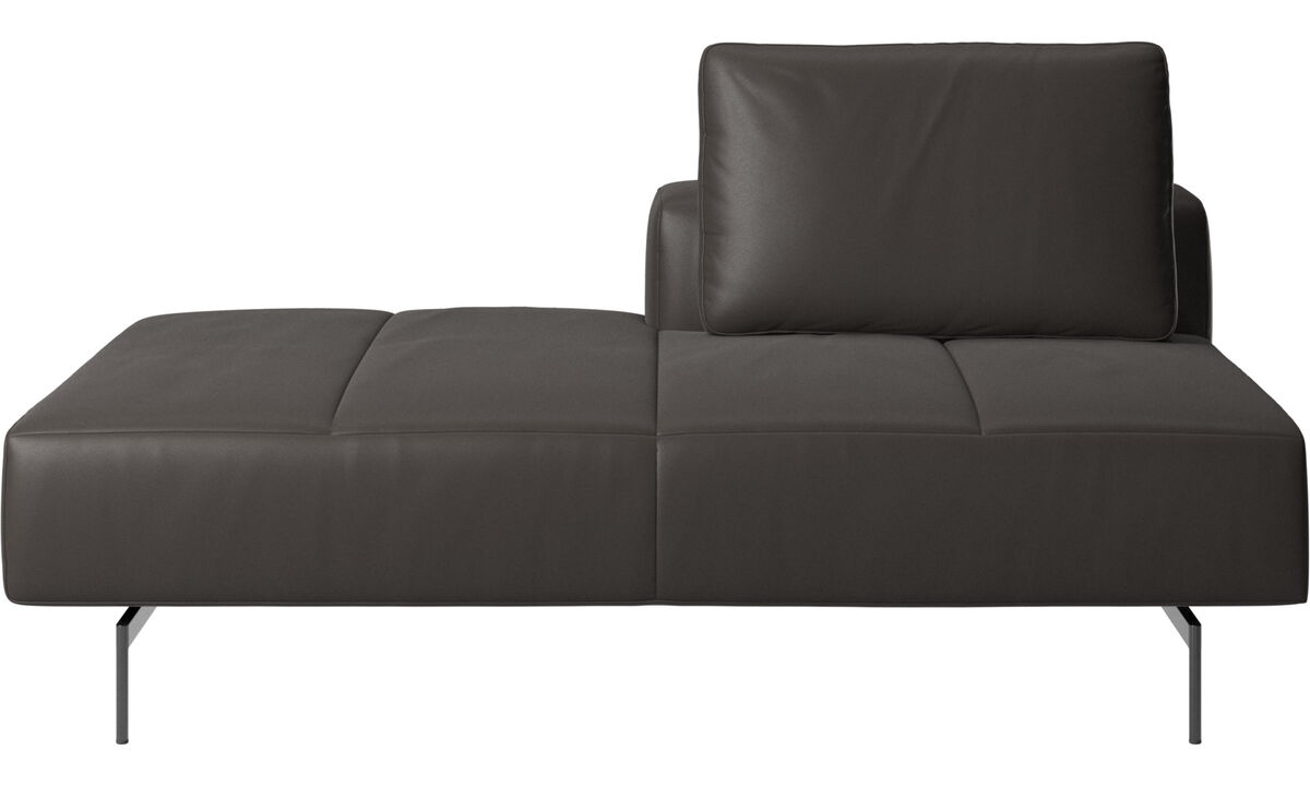Sofas with open end - Amsterdam Iounging module for sofa, back rest right, open end left - Brown - Leather