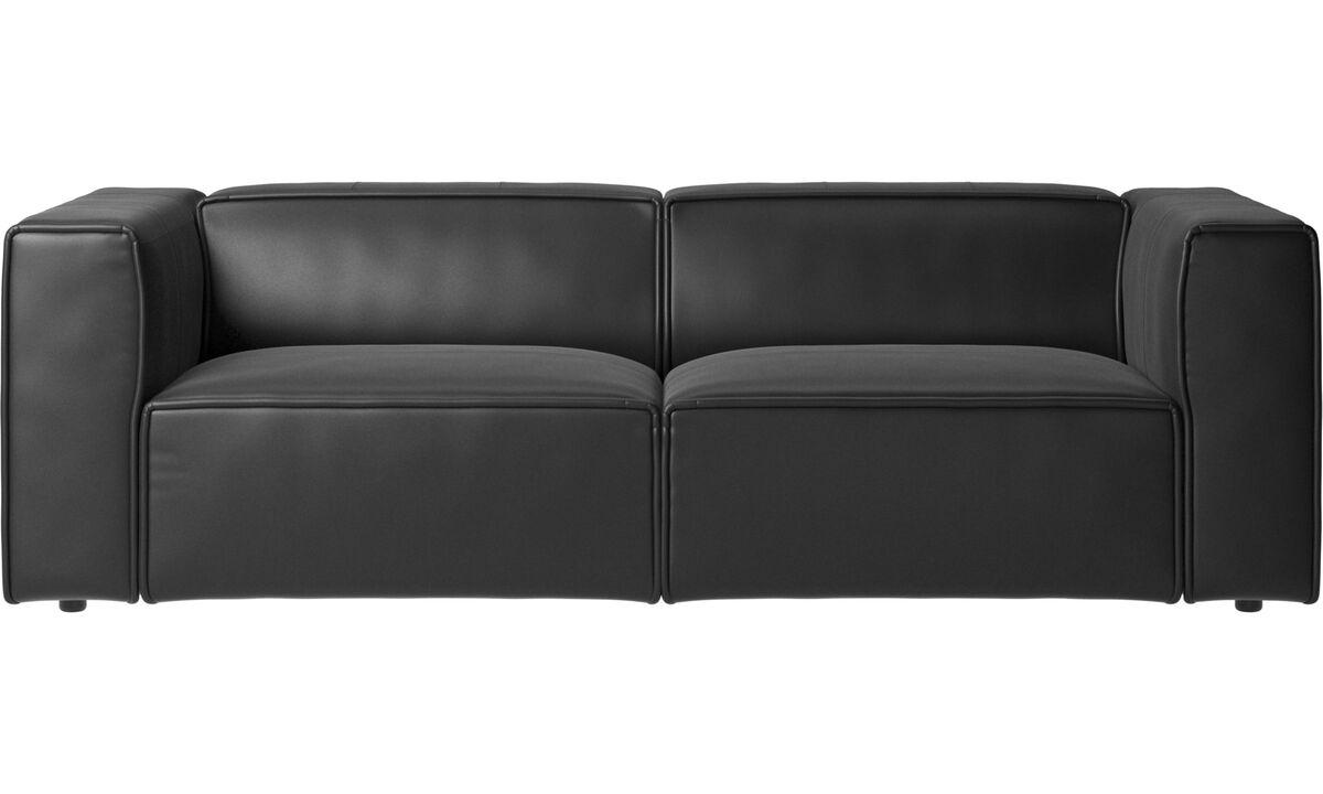 Sofás de 2 plazas y media - sofá Carmo - En negro - Piel