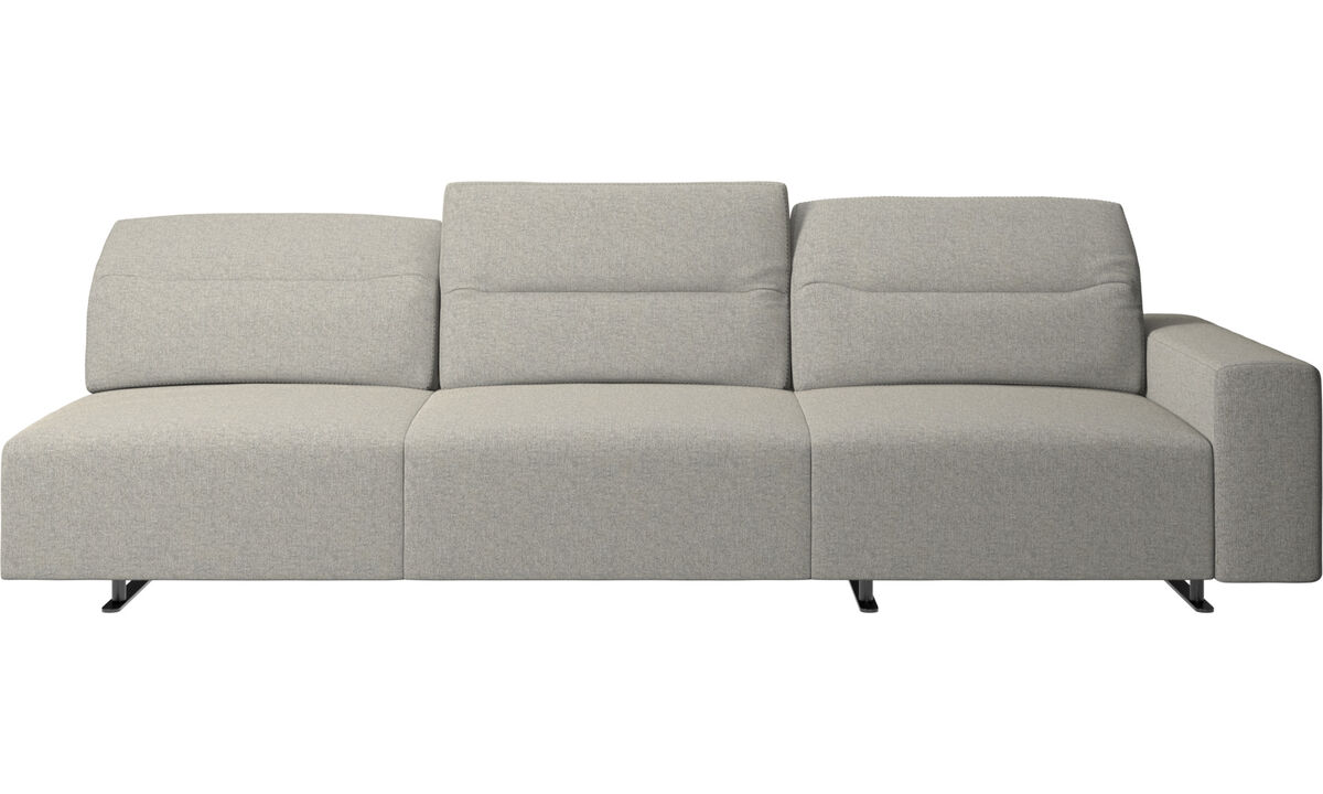 3 seater sofas - Hampton corner sofa with adjustable back and storage on right side - Grey - Fabric