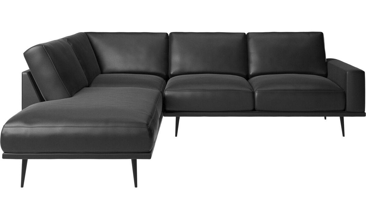 Sofas with open end - Carlton divano con modulo lounge - Nero - Pelle