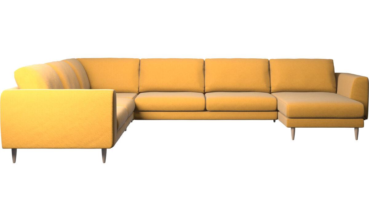 Sofás esquineros - Sofá esquinero Fargo con módulo chaise-longue - En amarillo - Tela