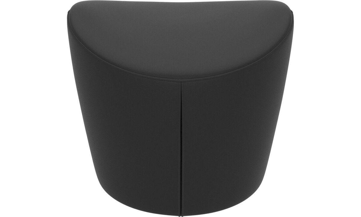 Footstools - Rico footstool - Black - Leather