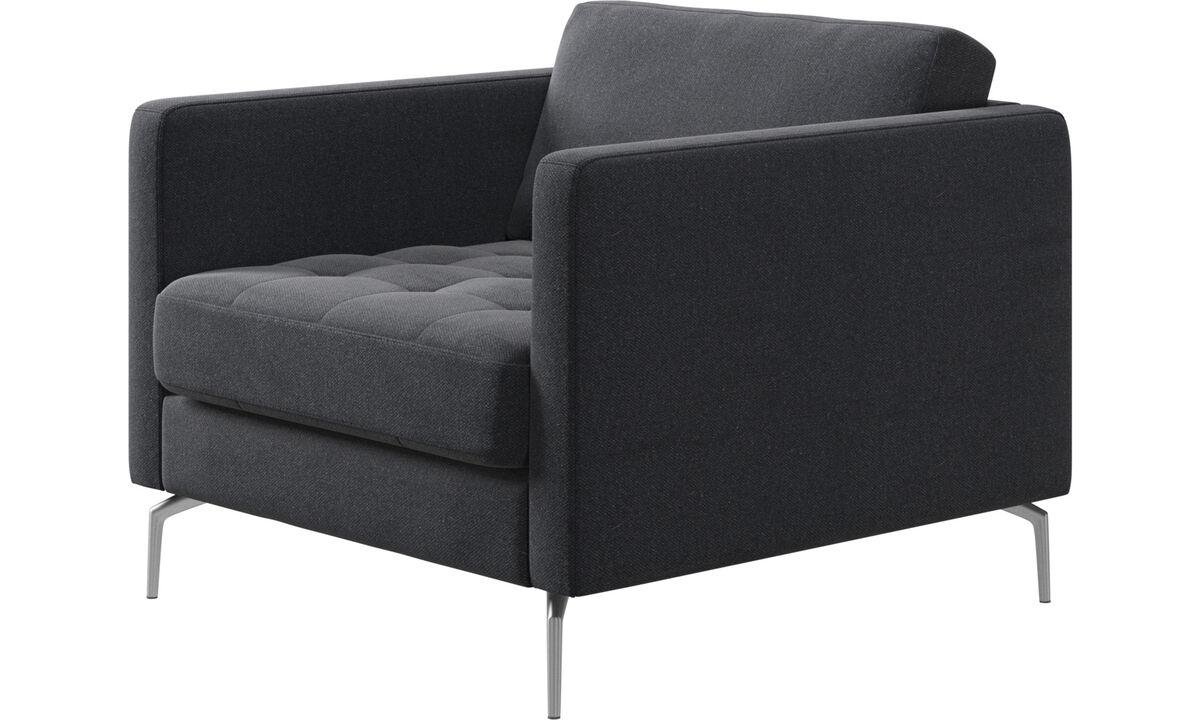 Lenestoler - Osaka stol, tuftet sete - Grå - Tekstil