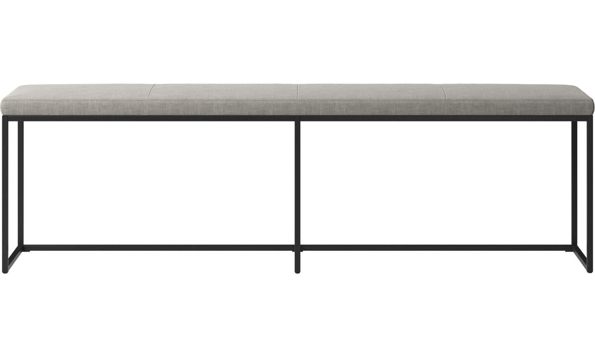 Benches - London large bench with cushion - Grey - Fabric