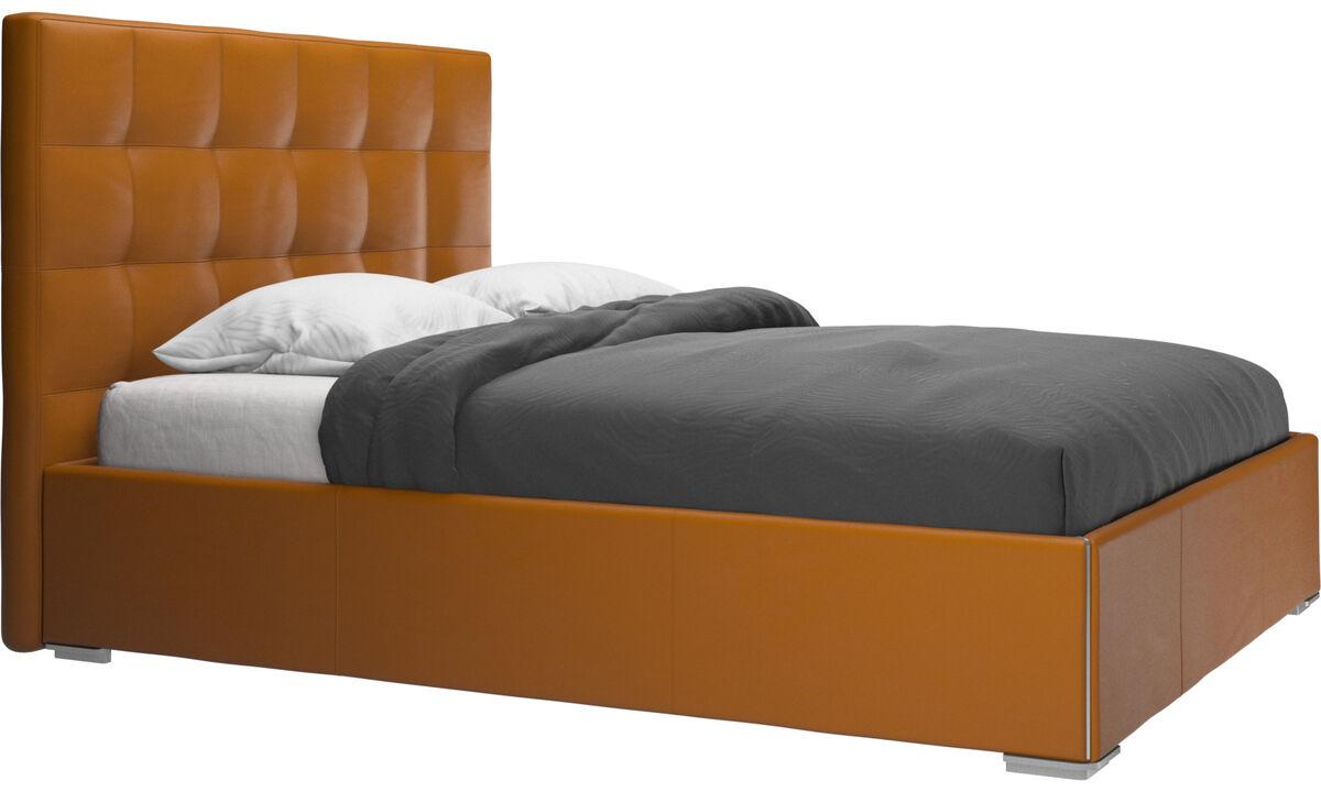 Nuevas camas - cama con canapé Mezzo, estructura elevable y tablado, no incluye colchón - En marrón - Piel