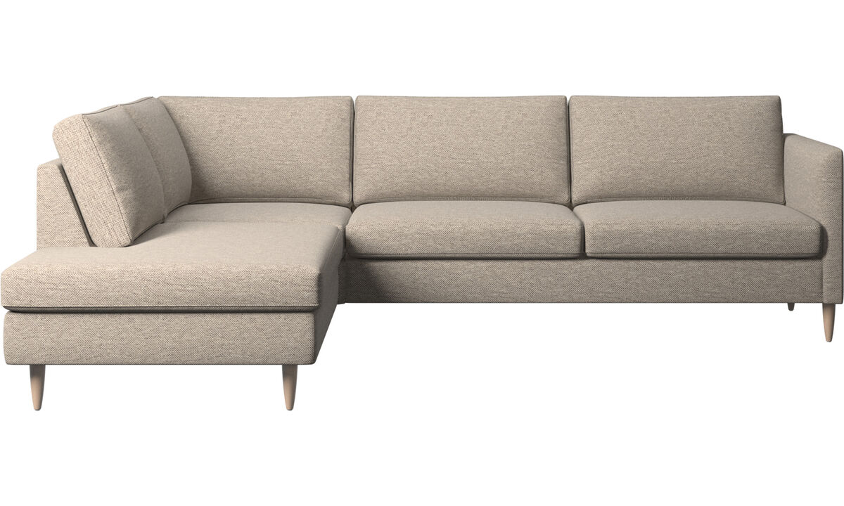 Sofas with open end - Indivi corner sofa with lounging unit - Beige - Fabric