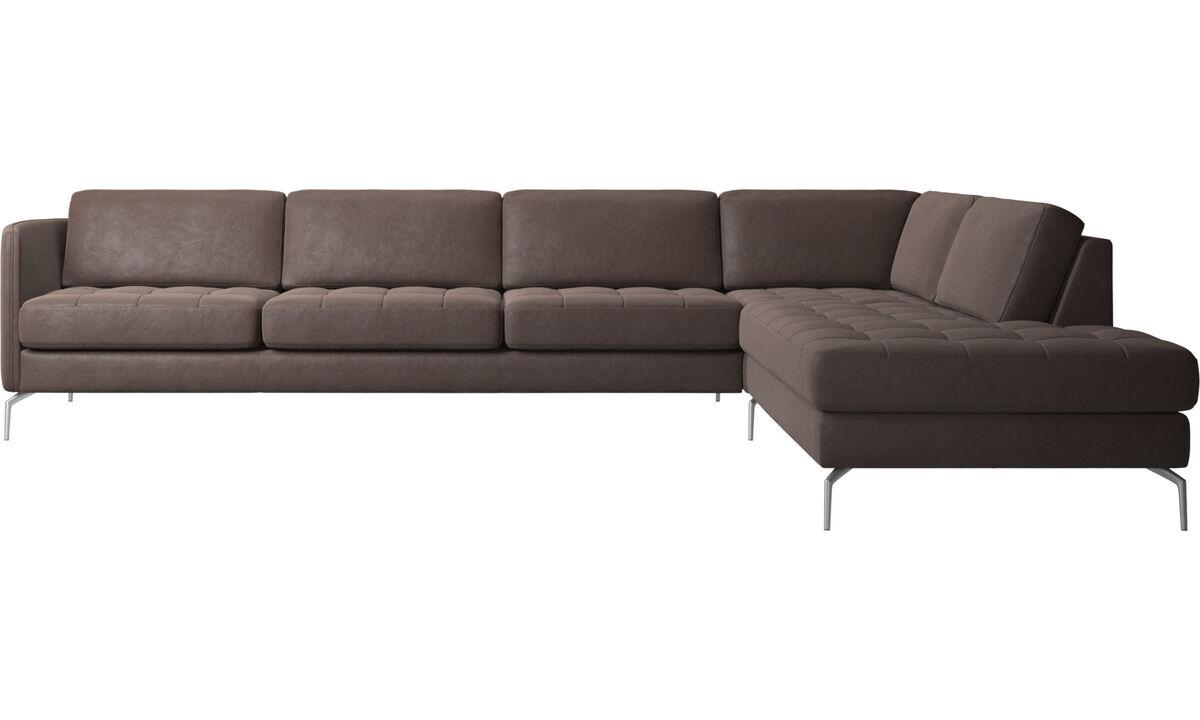 Sofy narożne - Sofa narożna Osaka z modułem wypoczynkowym, pikowane siedzisko - Brązowy - Skóra
