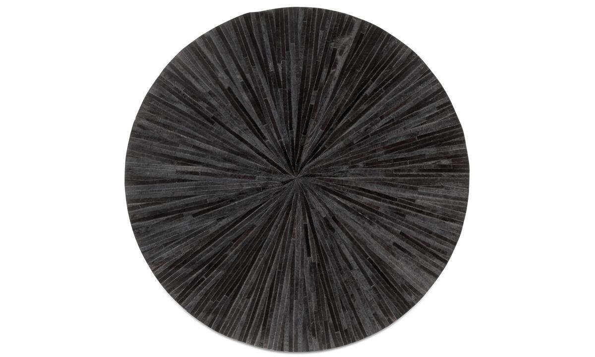 Rugs - Dimas rug - round - Black - Leather