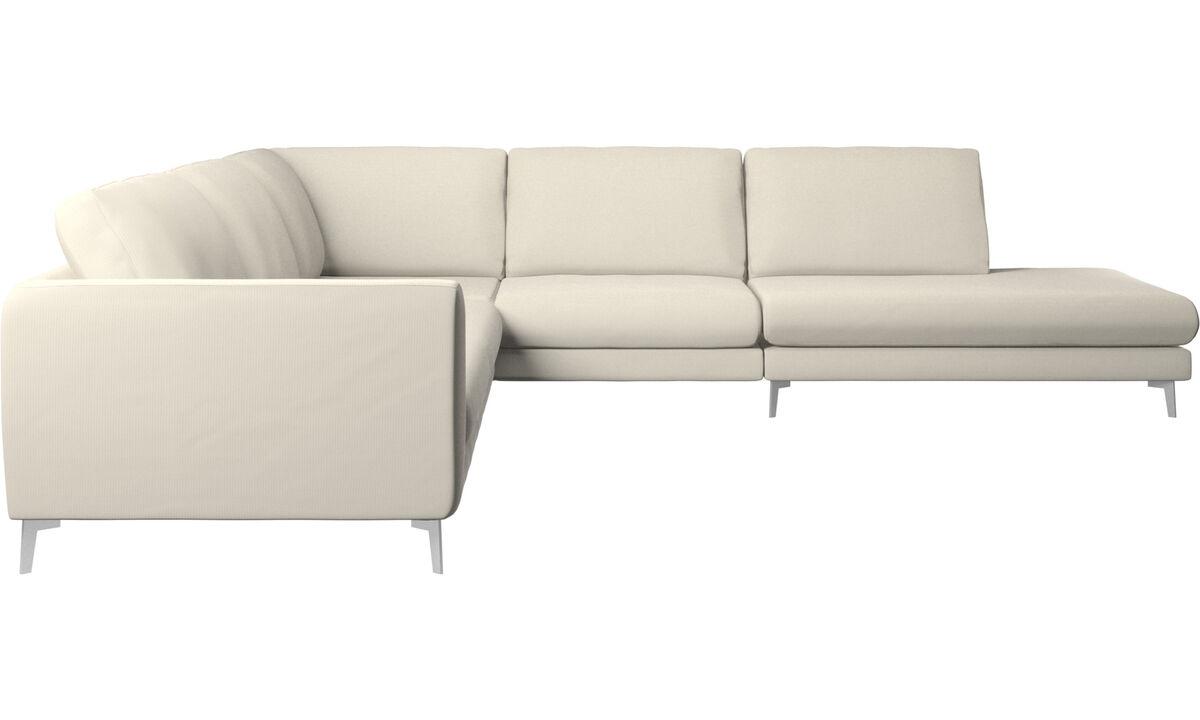 New designs - Fargo corner sofa with lounging unit - White - Fabric