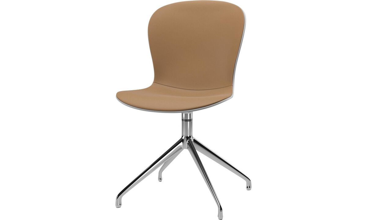 Sillas de comedor - silla Adelaide con función giratoria - En marrón - Piel