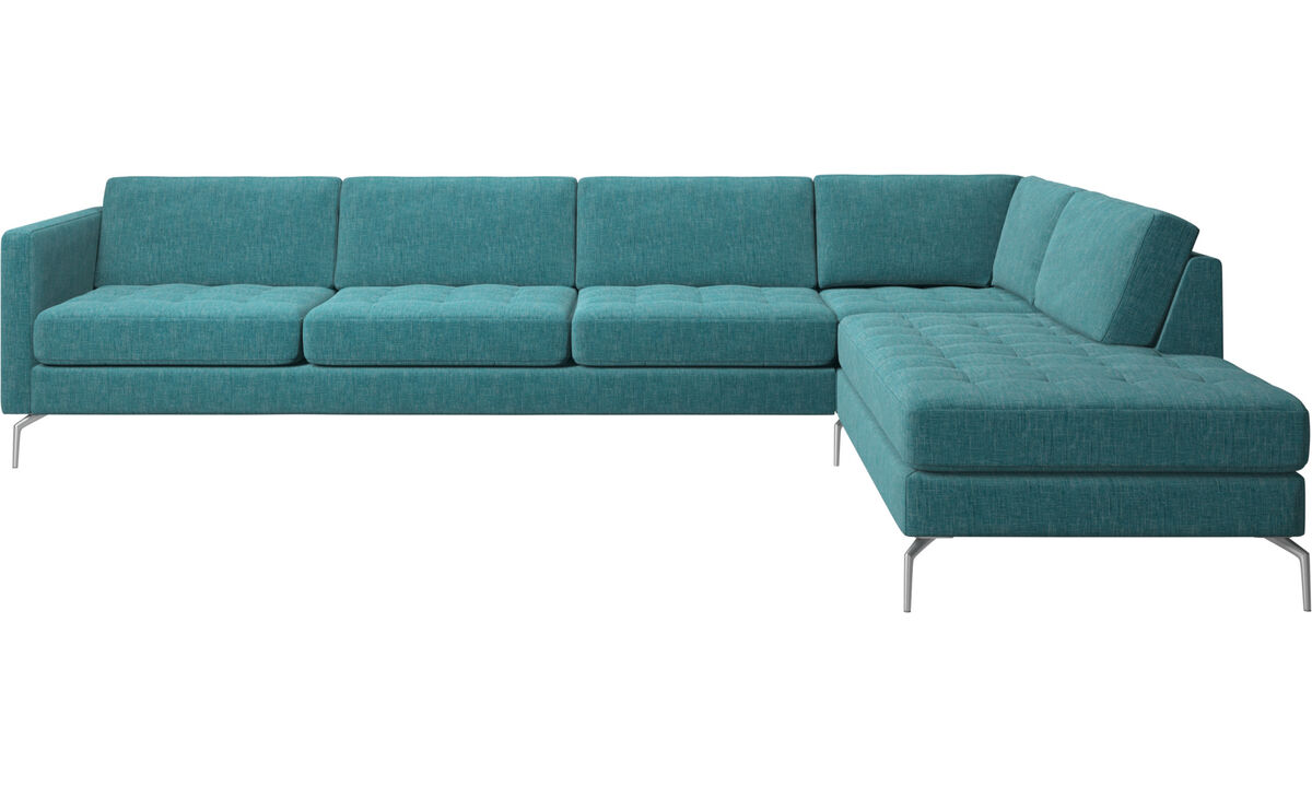 Sofas with open end - Osaka corner sofa with lounging unit, tufted seat - Blue - Fabric
