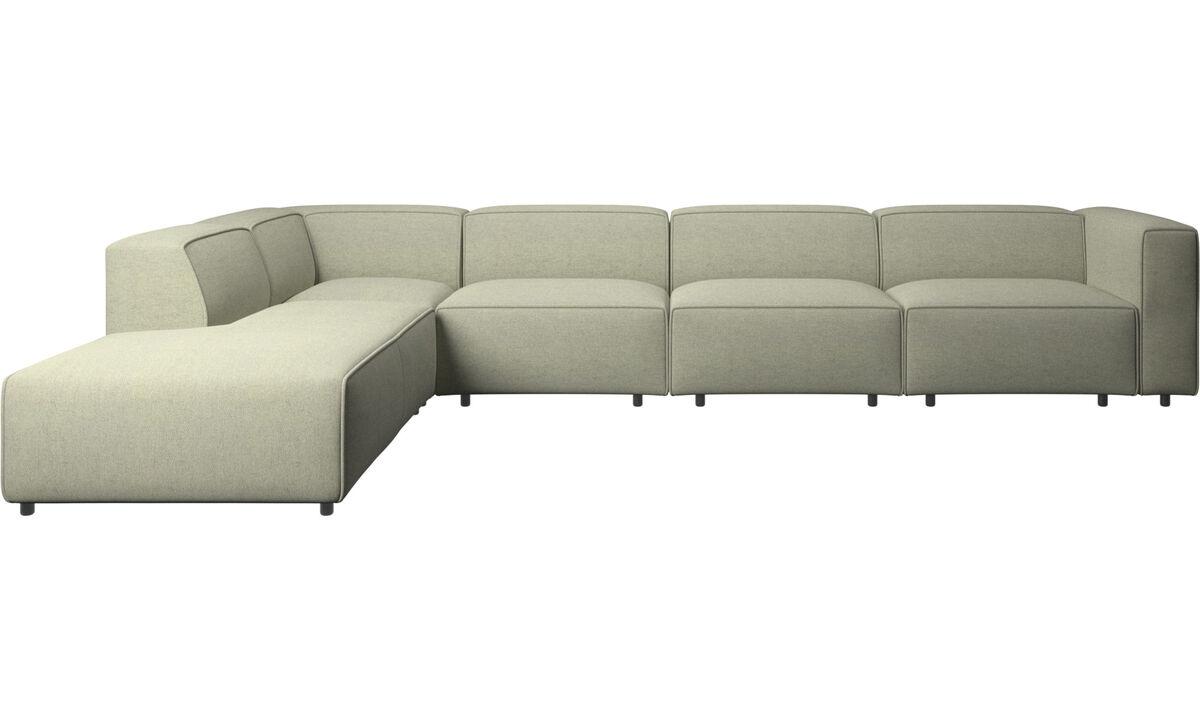 Lounge Sofas - Carmo verstellbares Ecksofa - Grün - Stoff