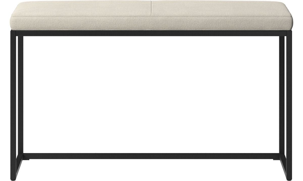 Benches - London small bench with cushion - White - Fabric
