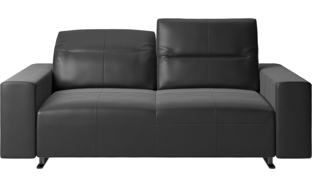 2 seater sofas - Hampton sofa with adjustable back - Black - Leather