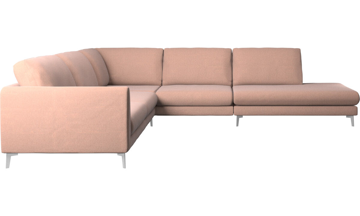 Sofas with open end - Fargo corner sofa with lounging unit - Red - Fabric
