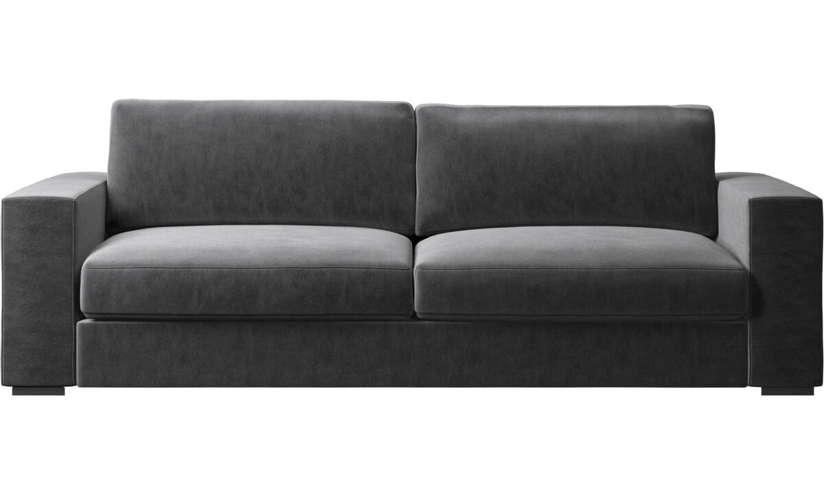 Sofás de 3 lugares - sofá Cenova - Cinzento - Tecido