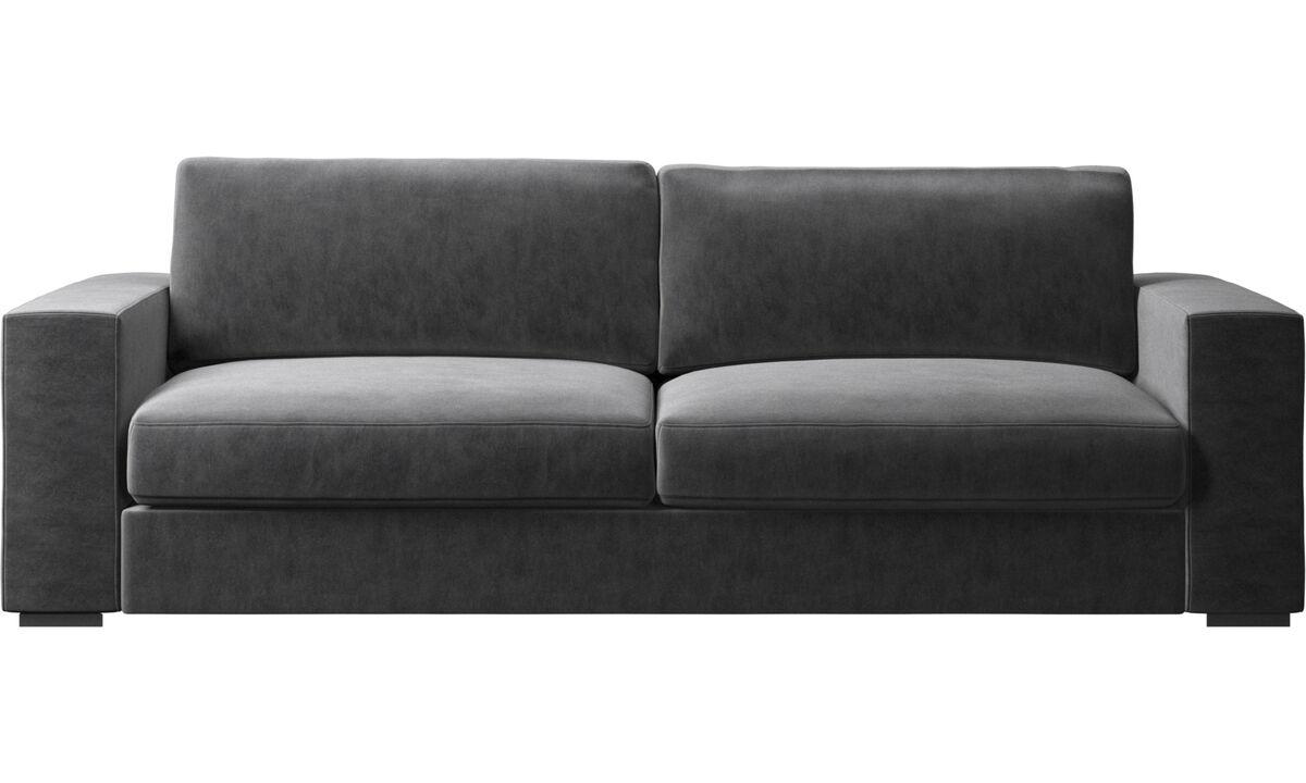 Sofás de 3 plazas - sofá Cenova - En gris - Tela