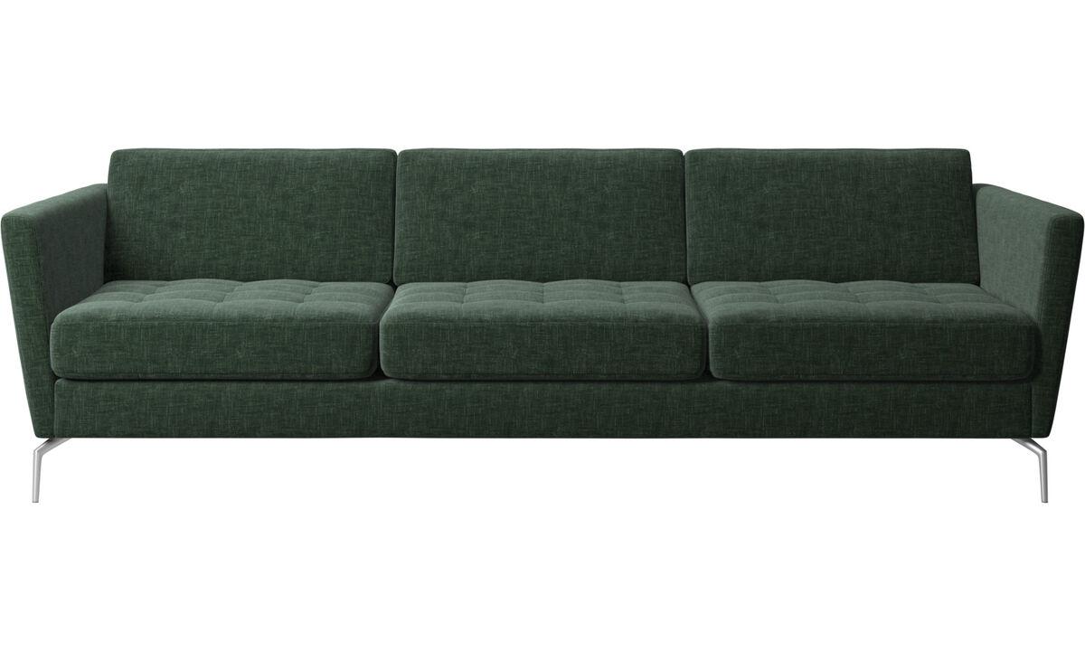 3 θέσιοι καναπέδες - Καναπές Osaka, καπιτονέ μαξιλάρι καθίσματος - Πράσινο - Ύφασμα