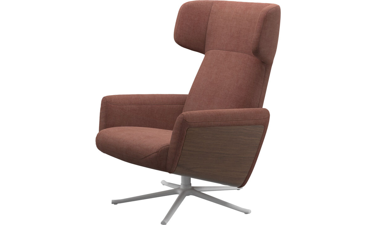 Armchairs - Lucca wing recliner with swivel function - Red - Fabric